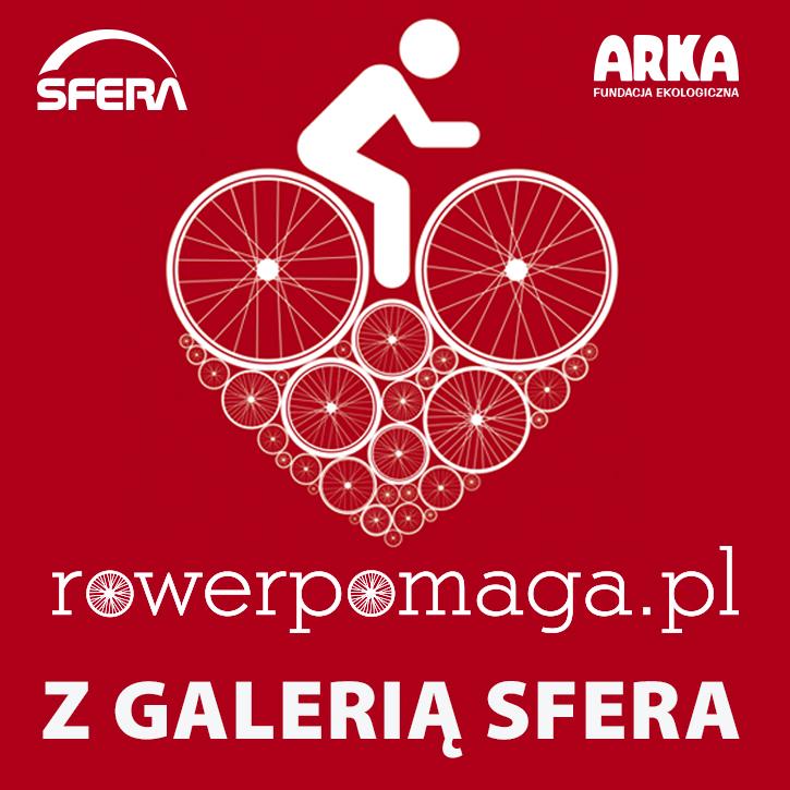 Plakat akcji Rower pomaga z Galerią Sfera